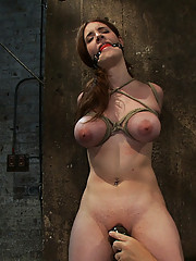 18 year old with huge natural tits gets tightly bound made to cum and suspended in a category 5 tie!