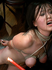 Hot Asian babe with big tits is bound, fucked, degraded, and rewarded with multiple loads of cum on her pretty face.