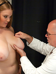 Huge tits redhead girl dominated and fucked in kinky clinic.