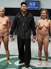 Vendetta & Tara Lynn Fox, humiliate and fuck the girls they just beat in wrestling, all in front of a live audience.