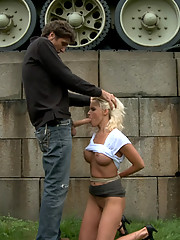 Steve Holmes ties up and fucks a hot German Milf in the streets of Europe