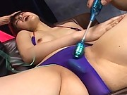 Ai Kousaki with vibrators on her very hard nipples in this video