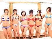 Japanese AV Model cute asian in a tiny plaid bikini