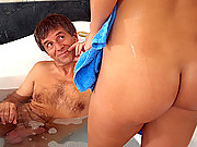 Young bathing sweetheart screwed by old guy
