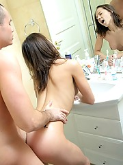 Hot cutie showering with her own boyfriend