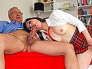 Shagging horny british gentleman on red couch