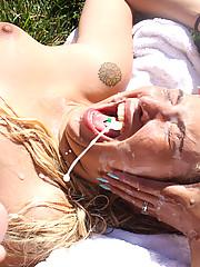 Curious slut getting into a nasty cumshot surprise