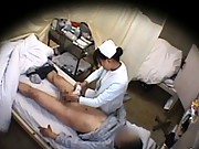 Amateur Asian nurse giving this lucky lad a hot blowjob
