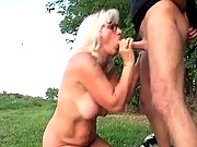 Granny gives a good sloppy blowjob