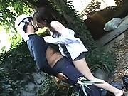 Japanese AV Model performing oral sex in public on a stranger