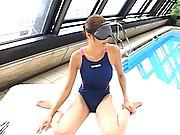 Azusa Ayano at the pool and rubbing two hard cocks