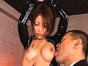 Kokomi Sakura is chained up and getting tits and nipples sucked