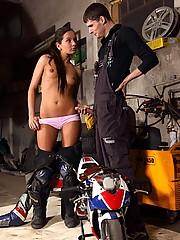 Shy teenage biker chick fucks the mechanic