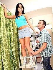 Teenage chick shagged on a ladder hardcore
