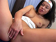 Hot horny girl masturbates when she is alone