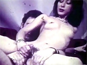 Vintage chick caught masturbating on a couch
