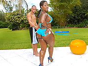 Amazing mega booty black babe gets fucked hard in her outside pool then cummed all over super hot reality hard fuck vids