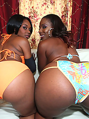 Two nasty black hoes with massive phat asses getting the cock treatment