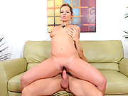 Sultry blonde babe sucks a rocked cock and rides a champion