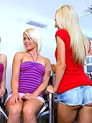 3 beautiful hot mini skirt teen lesbians fuck eachother backstage on their modeling photo shoot in these hot pussy licking pics