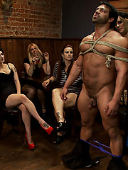 Maitresse Madeline invites 40 local girls, from San Francisco, to The Armory to humiliate, punish and gang bang a male stripper for her birthday