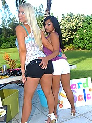 Check out big tits molly and her amazing booty shorts lesbian girl fuck eachother outdoors at their own garage sale super hot lesbian fucking pics