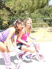 Two crazy teen girlfriends sharing a big lucky cock