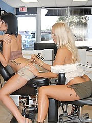 2 super hot long leg thong lesbian babes get fucked and licked in these hot tatto fucking lesiban fucking pic set