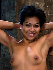 Hot Asian MILF gets suspended upside down, suffers nipple torture on her huge nipples, and is made to cum over and over.