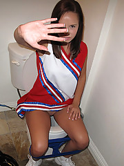 Super sexy long leg cheerleader gets her mini skirt pussy fucked hard after getting caught in the bathroom check out this stolen movie