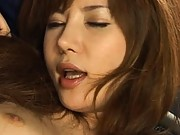 Aya Koizumi in crotchless panties and getting her pussy fingered