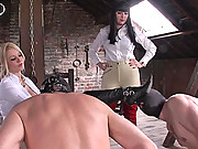 Mistresses boots licked by slaves