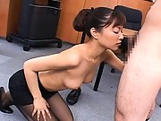 Yua Aida stripping out of her uniform to perform oral sex