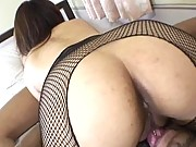 Miu Satsuki curvy ass is licked while she wears a body stocking