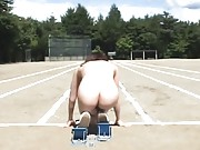 Amateur ready to run around the track while totally naked