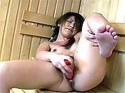 Teenage asian girl rubbing a very hairy pussy