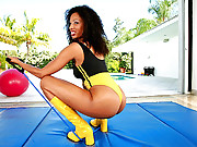 Amazing super hot big thick round ass babe gets nailed hard on her gym ball in these super fine ass babe fuck movie set
