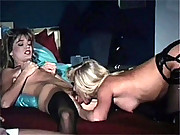 Lucky guy watching two retro lesbian chicks