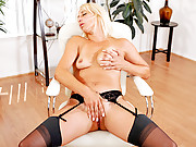 Pretty blonde housewife masturbates while wearing stockings