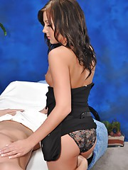 18 year old Brunette Seductress fucks her massage patient
