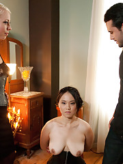 Sexy Asian bound, suspended, punished and fucked by wife trainers.