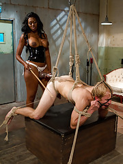 Amazon African Goddess, Nyomi Banxxx dominates white bitchboy making him worship her big ass, strap on fucking him and milking his little pick raw!