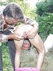 A girl fucked by very horny senior publicly