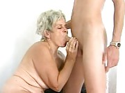 Granny sucks younger guys cock