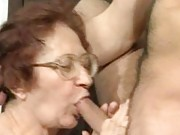 Gramma on her knees sucking cock