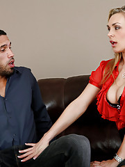 Tanya Tate called in Carlo Carrera so she can discuss his performance at work.  It seems as though she wants to check out his cock so he shows it to her and puts it in her mouth.  They fuck on the couch with her sexy high heels on. Turns out that she is e
