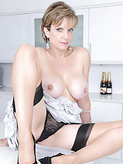 Elegant busty british mom posing
