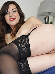 Brunette wearing stockings fucked by a senior