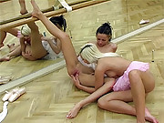 Two sexy girls performing ballet lick pussy