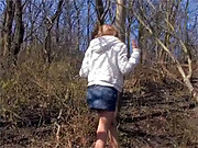 Horny teenager enjoys outdoor masturbating